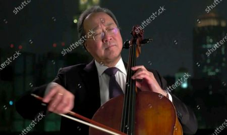 Stock Picture of In this image from video, Yo-Yo Ma performs during the Celebrating America event, following the inauguration of Joe Biden as the 46th president of the United States
