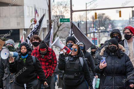 Editorial image of Antifa/BLM/Leftist march in Columbus, Ohio - 20 Jan 2021