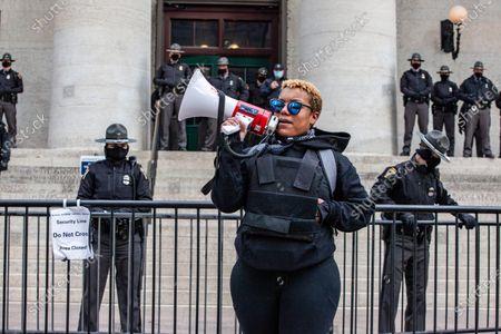 Editorial photo of Antifa/BLM/Leftist march in Columbus, Ohio - 20 Jan 2021