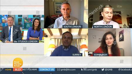 Piers Morgan, Susanna Reid, Kevin Maguire, Andrew Pierce, Lionel Barber and Professor Devi Sridhar