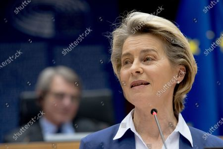 European Commission President Ursula von der Leyen delivers a speech during a plenary session of the European Parliament in Brussels, Belgium, on Jan. 20, 2021. Top officials of the European Union (EU) rejoiced on Wednesday over the inauguration of the new administration of the United States, expressing their readiness to mend the broken partnership and laying out expectations for renewed transatlantic cooperation.