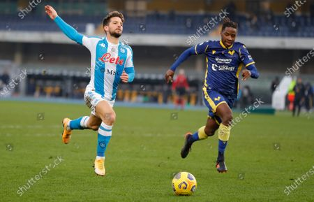Napoli's Dries Mertens fails to keep pace with the ball.