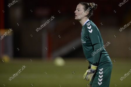 Hannah Reid of Durham Women in action during the FA Women's League Cup match between West Ham United Women and Durham Women at Victoria Road in London.