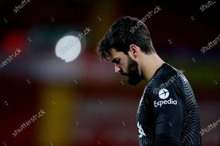 Stock Picture of Liverpool goalkeeper Alisson Becker shows a look of dejection