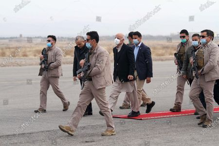Afghani President Ashraf Ghani Ahmadzai (C) arrives at Herat Airport during a visit to change the name of the Herat International Airport to Khwaja Abdullah Ansari Airport, in Herat, Afghanistan, 21 January 2021. Ghani will hold separate meetings with civil, military officials, ulema, women, youth and members of the provincial council, civil society activists and businessmen.