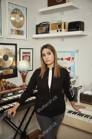 Mastering engineer Emily Lazar poses for a portrait in New York on . Lazar is nominated three times in the album of the year category thanks to her work on albums from HAIM, Coldplay and Jacob Collier. The 63rd Annual Grammy Awards will be held on March 14