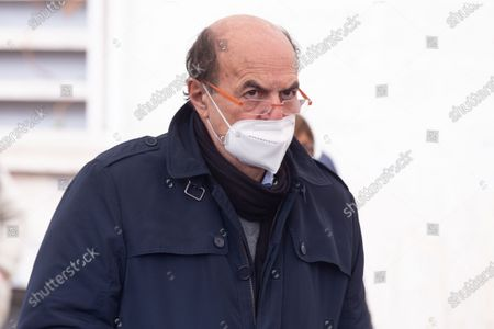Stock Image of Pier Luigi Bersani during funeral of Emanuele Macaluso