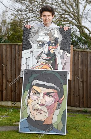 Matthew Byrom also makes portraits out of tiles. He is pictured with Spock from Star Trek and David Attenborough  An artist has revealed a breathtaking new mosaic of English motoring and aviation pioneer Charles Rolls.  The colourful piece has been installed down an alley in the Southbourne area of Bournemouth, Dorset, by local artist Mathew Byrom.  The Rolls-Royce co-founder was tragically killed in an air accident over the English seaside resort in 1910.