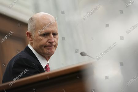 Stock Photo of Senator Rick Scott, a Republican from Florida, pauses during a Senate Commerce, Science and Transportation Committee confirmation hearing for U.S. Secretary of Transportation nominee Pete Buttigieg in Washington, D.C., USA, 21 January 2021. Buttigieg, is pledging to carry out the administration's ambitious agenda to rebuild the nation's infrastructure, calling it a 'generational opportunity' to create new jobs, fight economic inequality and stem climate change.