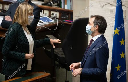 Chamber chairwoman Eliane Tillieux and Prime Minister Alexander De Croo pictured prior to a plenary session of the Chamber at the Federal Parliament in Brussels, Thursday 21 January 2021.