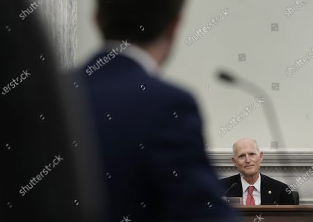 Stock Image of Sen. Rick Scott, R-Fla., speaks during a confirmation hearing for Transportation Secretary nominee Pete Buttigieg before the Senate Commerce, Science and Transportation Committee on Capitol Hill, in Washington