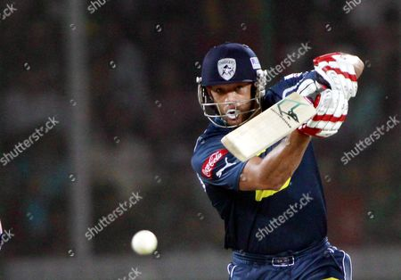 Deccan Chargers player Andrew Symonds plays a shot during the match against Delhi Daredevils at the Indian Premier League cricket match at Feroz Shah Kotla Cricket Stadium, Delhi