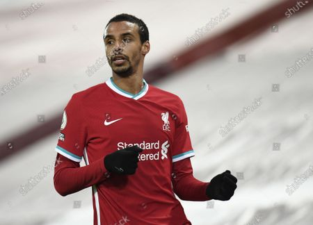 Joel Matip of Liverpool reacts during the English Premier League soccer match between Liverpool FC and Burnley FC in Liverpool, Britain, 21 January 2021.