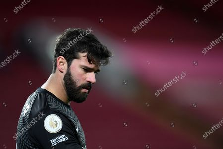 Liverpool's goalkeeper Alisson during the English Premier League soccer match between Liverpool and Burnley in Liverpool, England