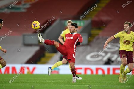 Liverpool's Alex Oxlade-Chamberlain during the English Premier League soccer match between Liverpool and Burnley in Liverpool, England