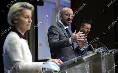 European Commission President Ursula von der Leyen (L) and European Council President Charles Michel (R) give a press conference after a video conference of the members of the European Council, in Brussels, Belgium, 21 January 2021. EU member countries' heads of states and governments agreed on keeping the intra-EU borders open although restrictions on non-essential travel are an option in order to combat the spread of the pandemic Sars-CoV-2 coronavirus and its variants.