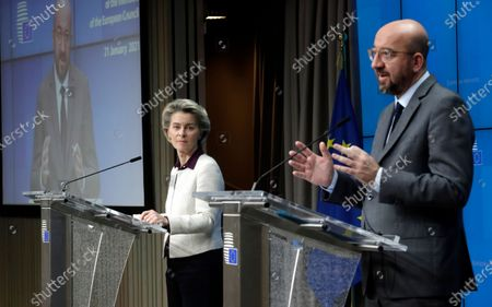 European Commission President Ursula von der Leyen (L) and European Council President Charles Michel during a press conference after a video summit of the European Council members, in Brussels, Belgium, 21 January 2021. EU member countries' heads of states and governments agreed on keeping the intra-EU borders open although restrictions on non-essential travel are an option in order to combat the spread of the pandemic Sars-CoV-2 coronavirus and its variants.