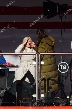 Stock Picture of BT Sport presenter Lynsey Hipgrave has her make-up applied during the game