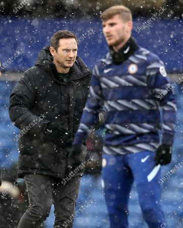 Frank Lampard manager of Chelsea and Timo Werner of Chelsea