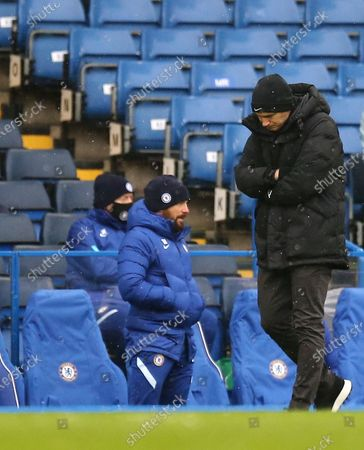 Frank Lampard manager of Chelsea looks dejected