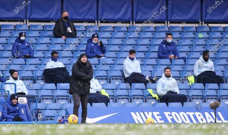 Frank Lampard manager of Chelsea looks on