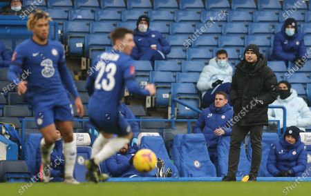Frank Lampard manager of Chelsea watches on