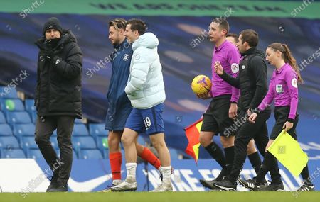 Stock Picture of Frank Lampard manager of Chelsea looks on while  Harry Cornick  of Luton Town   jokes with Mason Mount of Chelsea