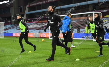 Andy Carroll of Newcastle United warms up before kick off