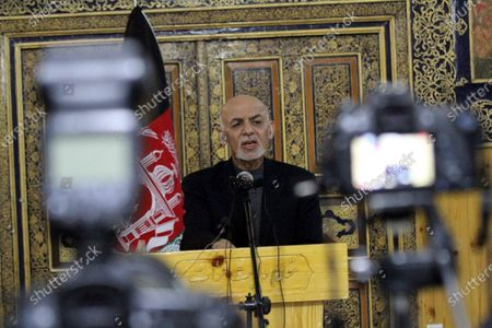 Stock Image of Afghani President Ashraf Ghani Ahmadzai speaks to journalists during a press conference at his visit to change the name of the Herat International Airport to Khwaja Abdullah Ansari Airport, in Herat, Afghanistan, 22 January 2021. Ghani will hold separate meetings with civil, military officials, ulema, women, youth and members of the provincial council, civil society activists and businessmen.