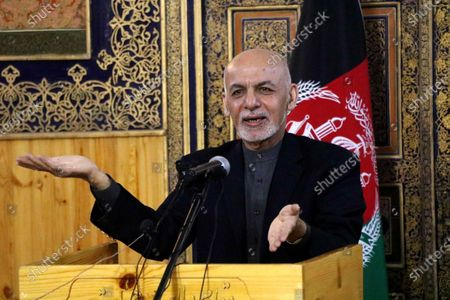 Afghani President Ashraf Ghani Ahmadzai speaks to journalists during a press conference at his visit to change the name of the Herat International Airport to Khwaja Abdullah Ansari Airport, in Herat, Afghanistan, 22 January 2021. Ghani will hold separate meetings with civil, military officials, ulema, women, youth and members of the provincial council, civil society activists and businessmen.