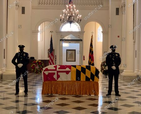 Maryland Senate President Emeritus Thomas V. Mike Miller, Jr. lies in state at the Maryland Statehouse in Annapolis, Md., on . Miller was a state legislator for 50 years. A Democrat, he served as president of the Maryland Senate for 33 years. He announced he was stepping down from the post in 2019, but he remained a senator until December