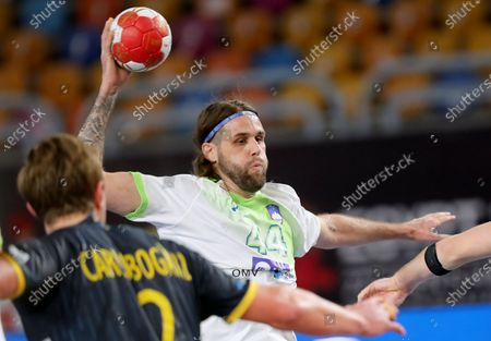 Dean Bombac of Slovenia in action during the Main Round match between Slovenia and Sweden at the 27th Men's Handball World Championship in Cairo, Egypt, 22 January 2021.