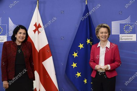 Georgia's President Salome Zourabichvili, left, and European Commission President Ursula von der Leyen pose for a photograph before their meeting at the European Commission headquarters in Brussels