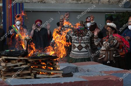 Amautas perform an ancestral ceremony during the official ceremony for the Plurinational State Day, a holiday established eleven years ago by the Movement to Socialism (MAS), to remember the Evo Morales' first investiture in 2006, in La Paz, Bolivia, 22 January 2021. The celebration of the Day of the Plurinational State in Bolivia began with an indigenous ritual of gratitude to the 'Pachamama' or Mother Earth. The public holiday is celebrated annually on 22 January since 2009 to mark the country's refoundation as plurinational state.