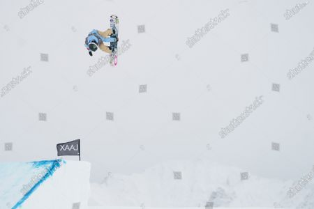 Stock Picture of Jamie Anderson from the USA in action during the Women's Slopestyle final at FIS Snowboard World Cup competition Laax Open in Laax, Switzerland, 22 January 2021.
