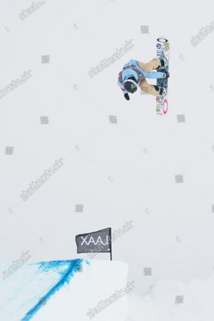 Jamie Anderson from the USA in action during the Women's Slopestyle final at FIS Snowboard World Cup competition Laax Open in Laax, Switzerland, 22 January 2021.