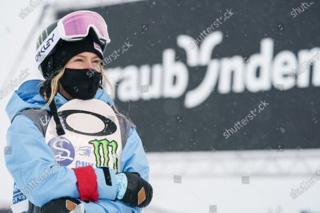 Jamie Anderson from the USA reacts during the Women's Slopestyle final at FIS Snowboard World Cup competition Laax Open in Laax, Switzerland, 22 January 2021.