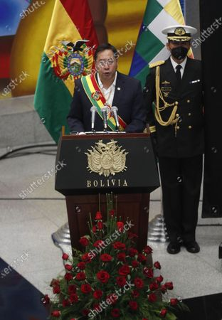 """Stock Picture of Bolivia's President Luis Arce addresses the nation at the presidential palace in La Paz, Bolivia, . The message marked the anniversary of the naming of Bolivia as the """"Plurinational State of Bolivia,"""" by former President Evo Morales"""