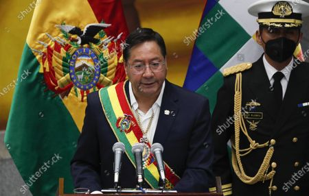 """Stock Photo of Bolivia's President Luis Arce addresses the nation at the presidential palace in La Paz, Bolivia, . The message marked the anniversary of the naming of Bolivia as the """"Plurinational State of Bolivia,"""" by former President Evo Morales"""
