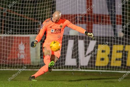 Wolverhampton Wanderers goalkeeper John Ruddy clears the ball during the FA Cup match between Chorley and Wolverhampton Wanderers at Victory Park, Chorley