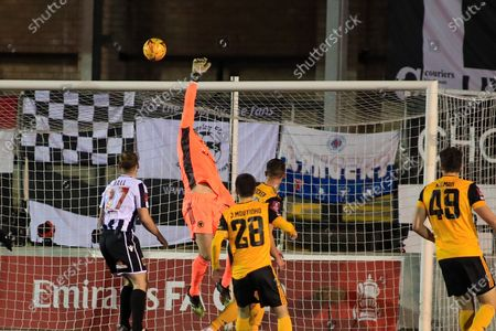 Wolverhampton Wanderers goalkeeper John Ruddy makes a save during the FA Cup match between Chorley and Wolverhampton Wanderers at Victory Park, Chorley
