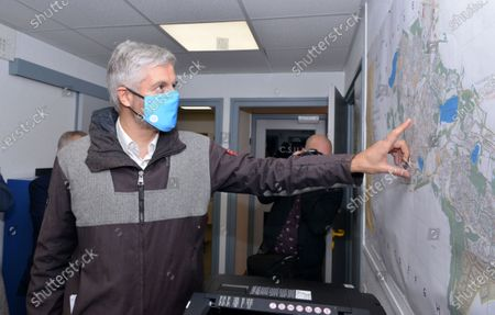 Stock Photo of Laurent Wauquiez, President of the Auvergne-Rhone-Alpes region went to Villefontaine to meet with the municipal police.