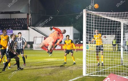 Wolverhampton Wanderers's goalkeeper John Ruddy makes a save during the Emirates FA Cup fourth round soccer match between Chorley and Wolverhampton Wanderers at Victory Park in Chorley, England