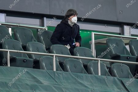 German national coach Joachim Loew attends the German Bundesliga soccer match between Borussia Moenchengladbach and Borussia Dortmund in Moenchengladbach, Germany