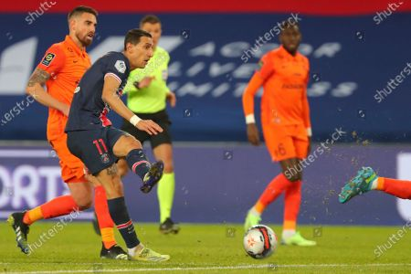 PSG's Angel Di Maria, second left, in action during the French League One soccer match between Paris Saint-Germain and Montpellier at the Parc des Princes stadium in Paris, France, Friday, Jan.22, 2021