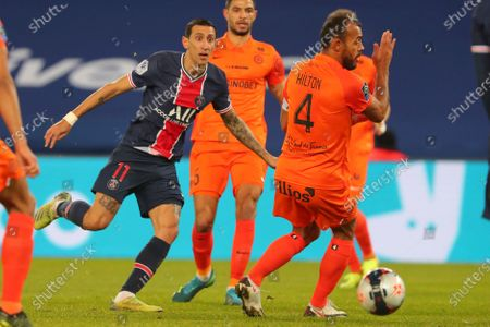 PSG's Angel Di Maria, left, misses a chance to score during the French League One soccer match between Paris Saint-Germain and Montpellier at the Parc des Princes stadium in Paris, France, Friday, Jan.22, 2021