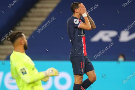 Stock Image of PSG's Angel Di Maria reacts after missing a chance to score during the French League One soccer match between Paris Saint-Germain and Montpellier at the Parc des Princes stadium in Paris, France, Friday, Jan.22, 2021