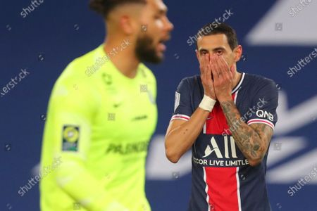 Stock Picture of PSG's Angel Di Maria reacts after missing a chance to score during the French League One soccer match between Paris Saint-Germain and Montpellier at the Parc des Princes stadium in Paris, France, Friday, Jan.22, 2021
