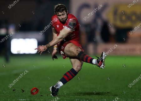 Stock Picture of Leigh Halfpenny of Scarlets kicks a penalty.