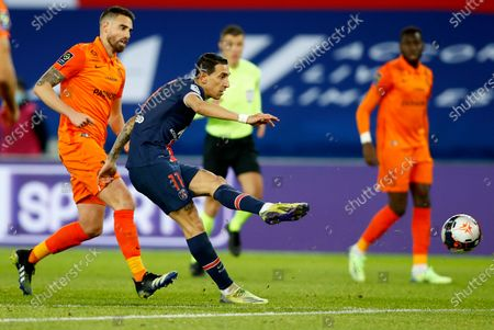 Stock Photo of Paris Saint Germain's Angel Di Maria takes a shot during the French Ligue 1 soccer match between Paris Saint Germain and Montpellier HSC, in Paris, France, 22 January 2021.